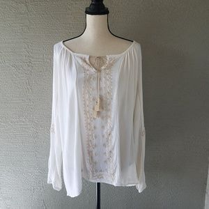 Knox Rose Cream Boho Long Sleeve Tassel Collar Top